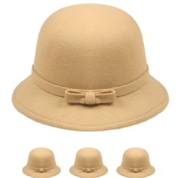 24 Bulk Womans Stylish Warm Winter Hat With Bow In Beige