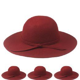 12 Bulk Womans Plain Wool Bucket Hat In Maroon