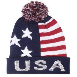 48 Bulk Mens Usa Winter Hat With Pom Pom