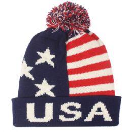 36 Bulk Men Usa Winter Hat With Pom Pom