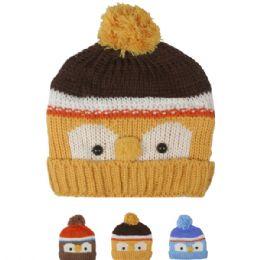 72 Bulk Kid Winter Hat Owl Face Assorted
