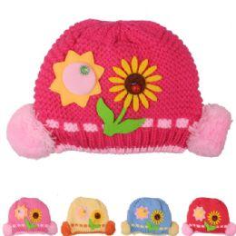 72 Bulk Kid Winter Hat With Sun Flower Assorted