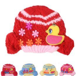 72 Bulk Kid Winter Hat With Duck Assorted