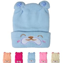 72 Bulk Kids Happy Face Winter Hat