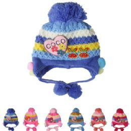 72 Bulk Kid Knitted Winter Hat Assorted Color