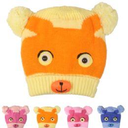72 Bulk Kids Animal Face Winter Hat