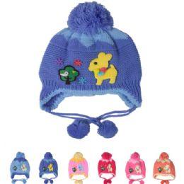 72 Bulk Assorted Kids Winter Hat With Deer