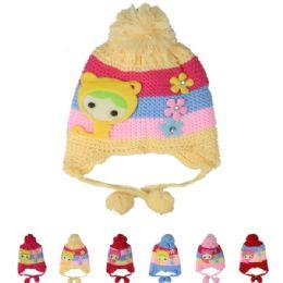 72 Bulk Kids Striped Winter Hat With Pom Pom