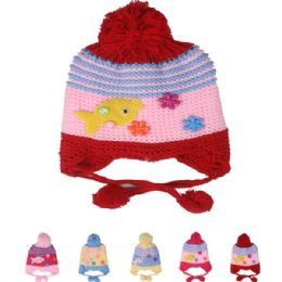 72 Bulk Kids Striped Knitted Winter Hat With Fish