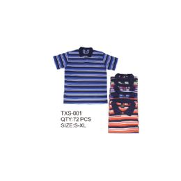 36 Bulk Men's Stripe Polo Shirt