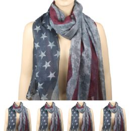 36 Bulk Womens Fashionable Scarf Ameican Flag Style