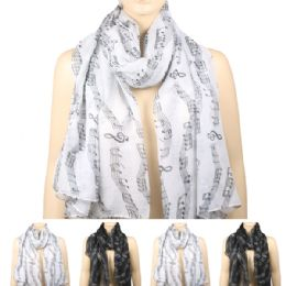 36 Bulk Womens Fashionable Scarf In Assorted Color With Musical Notes
