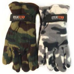 24 Bulk Fleece Green White Camo Print Winter Gloves Assorted