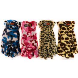 36 Bulk Fleece Camo Leopard Print Winter Gloves Assorted