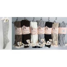 24 Bulk Solid Color Knitted Stockings With Lace Trim Assorted