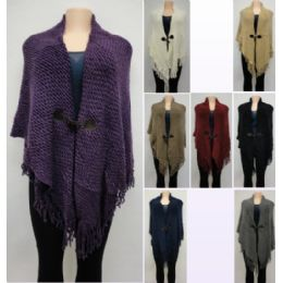 12 Bulk Knitted Shawl With Fringe [sharktooth Button Closure]