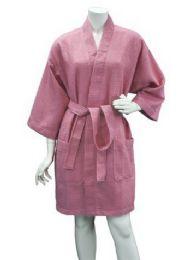 10 Bulk Women's Knee Length Waffle Kimono Bathrobe In Lilac
