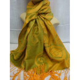 36 Bulk Winter Fashion Pashminas Multi Colored Swirls In Yellow Green