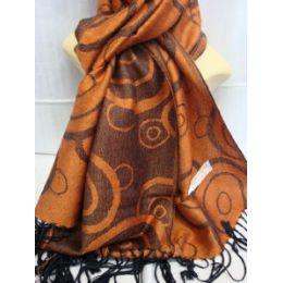 36 Bulk Winter Fashion Pashminas Multi Colored Swirls In Brown And Orange
