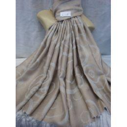 36 Bulk Winter Fashion Pashminas Multi Colored Swirls In Light Gray