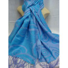 36 Bulk Winter Fashion Pashminas Multi Colored Swirls In Blue And Gray