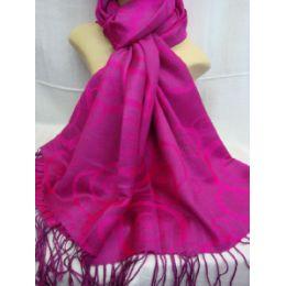 36 Bulk Winter Fashion Pashminas Multi Colored Swirls In Pink