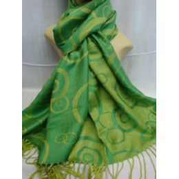 36 Bulk Winter Fashion Pashminas Multi Colored Swirls In Green