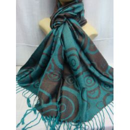 36 Bulk Winter Fashion Pashminas Multi Colored Swirls In Turquoise And Gray