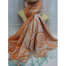 36 Bulk Winter Fashion Pashminas Multi Colored Swirls In Orange