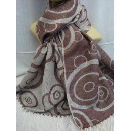 36 Bulk Winter Fashion Pashminas Multi Colored Swirls Taupe