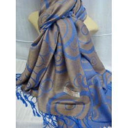 36 Bulk Winter Fashion Pashminas Multi Colored Swirls Blue And Gray