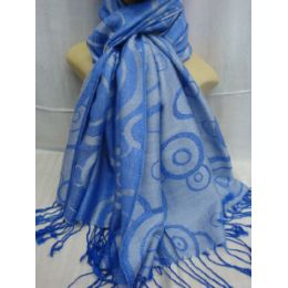 36 Bulk Winter Fashion Pashminas Multi Colored Swirls In Blue