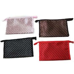 96 Bulk Assorted Color Dotted Cosmetic Bag