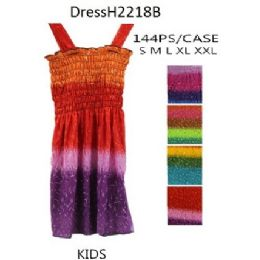 144 Bulk Multi Color Girls Kids Dresses (tie Dye Prints)