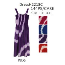 144 Bulk Tie Dye Circle Prints Kids Girls Simple Strap Dresses