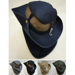 24 Bulk Cotton Boonie Hat With Cloth Flap Mesh