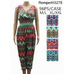 96 Bulk Multicolor Chevron Pattern Romper Sets