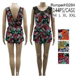 144 Bulk Floral Pattern Lace Front Short Romper Sets