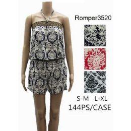 144 Bulk Tube Style Short Romper Royal Floral Design