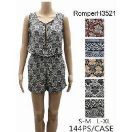 144 Bulk Lady's Short Romper Sets