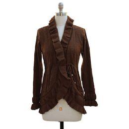 12 Bulk Ruffle Cardigan Sweater Brown
