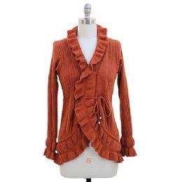12 Bulk Ruffle Cardigan Sweater Rust
