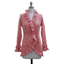 12 Bulk Ruffle Cardigan Sweater Pink