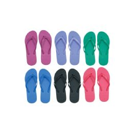 96 Bulk Women's Solid Color Flip Flops