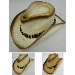 24 Bulk Paper Straw Cowboy Hat [triple Bead Hat Band]