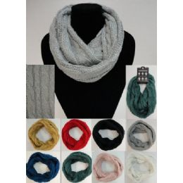 24 Bulk SequinS-Cable Knit Knitted Infinity Scarf