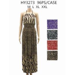 48 Bulk Womans Long Animal Printed Summer Dress