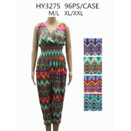 48 Bulk Womans Romper Printed Assorted Color