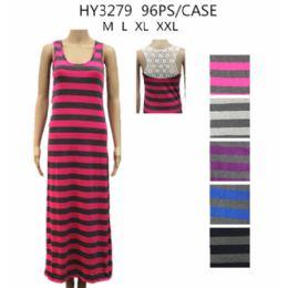 48 Bulk Womans Long Stripe Summer Dress