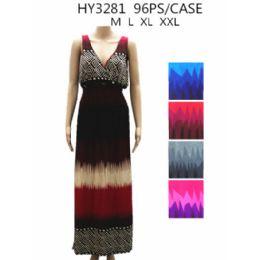 48 Bulk Womans Long Summer Dress Assorted Colors